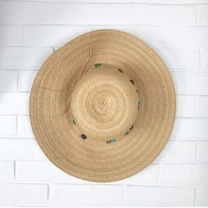 {No Brand} Woven Floppy Beach Hat w/Beaded Trim